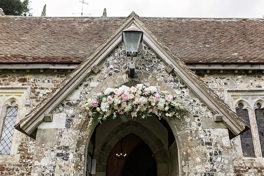 Archway Entrance Flowers Floral Pink Blush Rose Edmondsham House Wedding Darima Frampton Photography