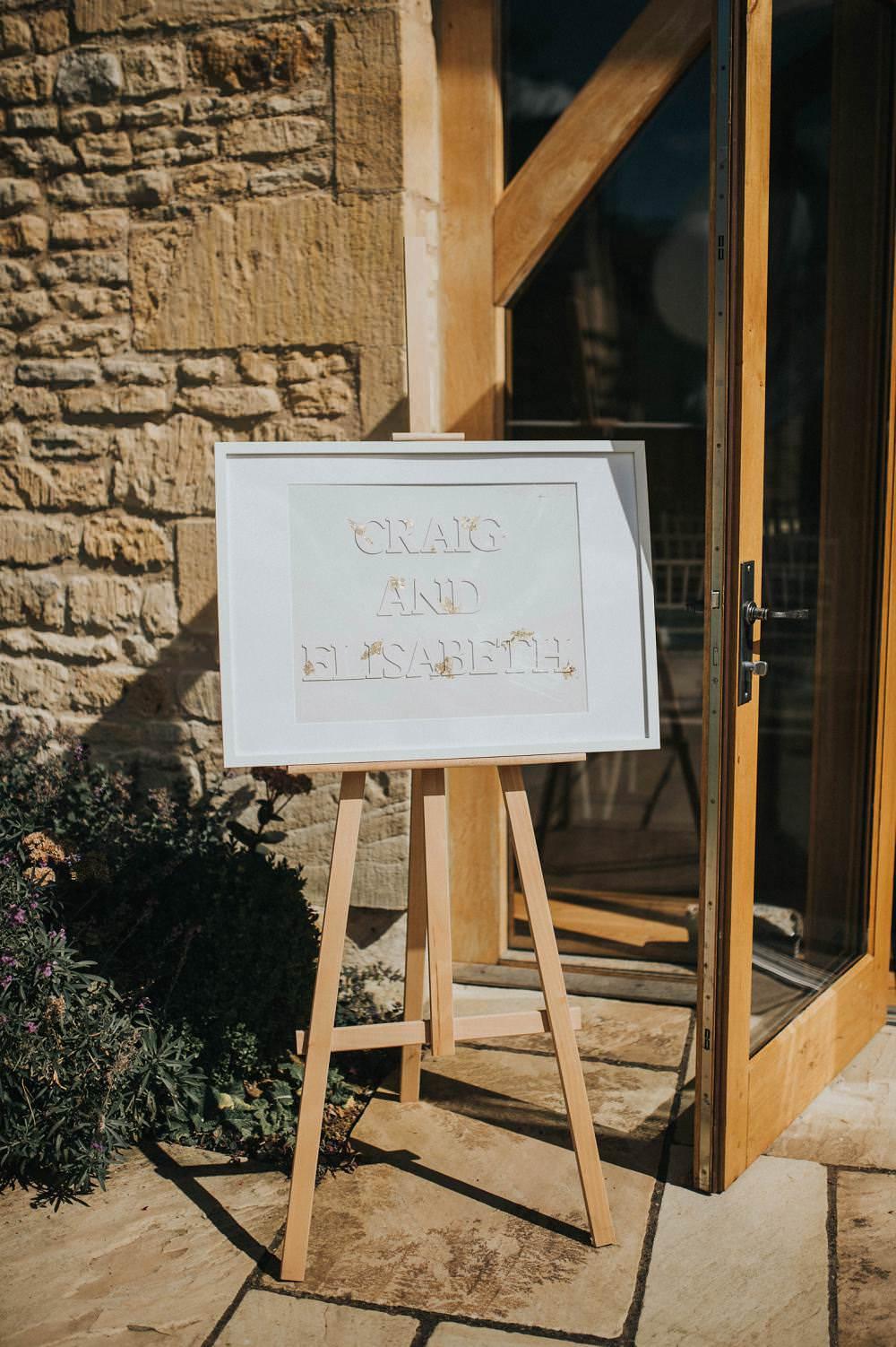 Welcome Sign Wooden Frame Easel Eucalyptus Boho Greenery Barn Wedding Kerry Diamond Photography