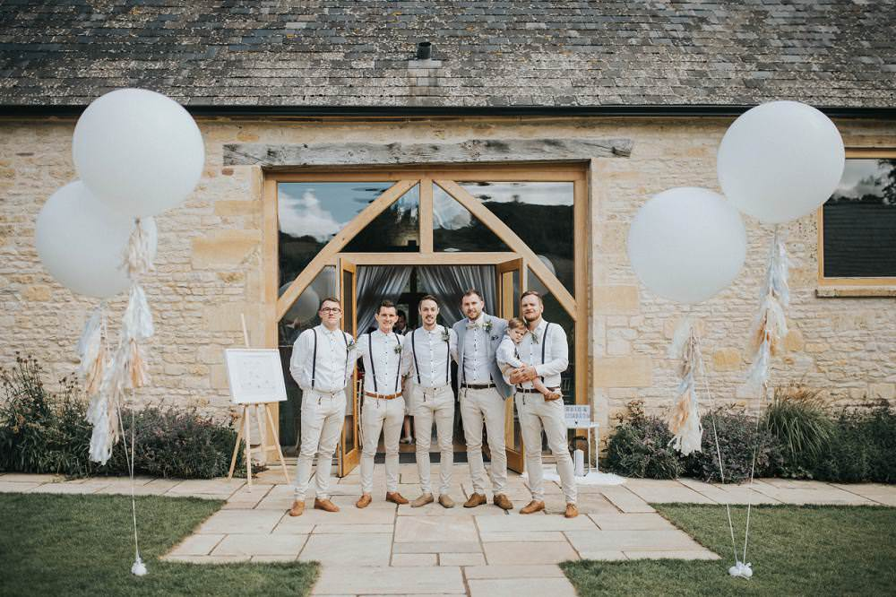 Groom Groomsmen Boq Tie Braces Beige Blue Jacket Chinos Eucalyptus Boho Greenery Barn Wedding Kerry Diamond Photography