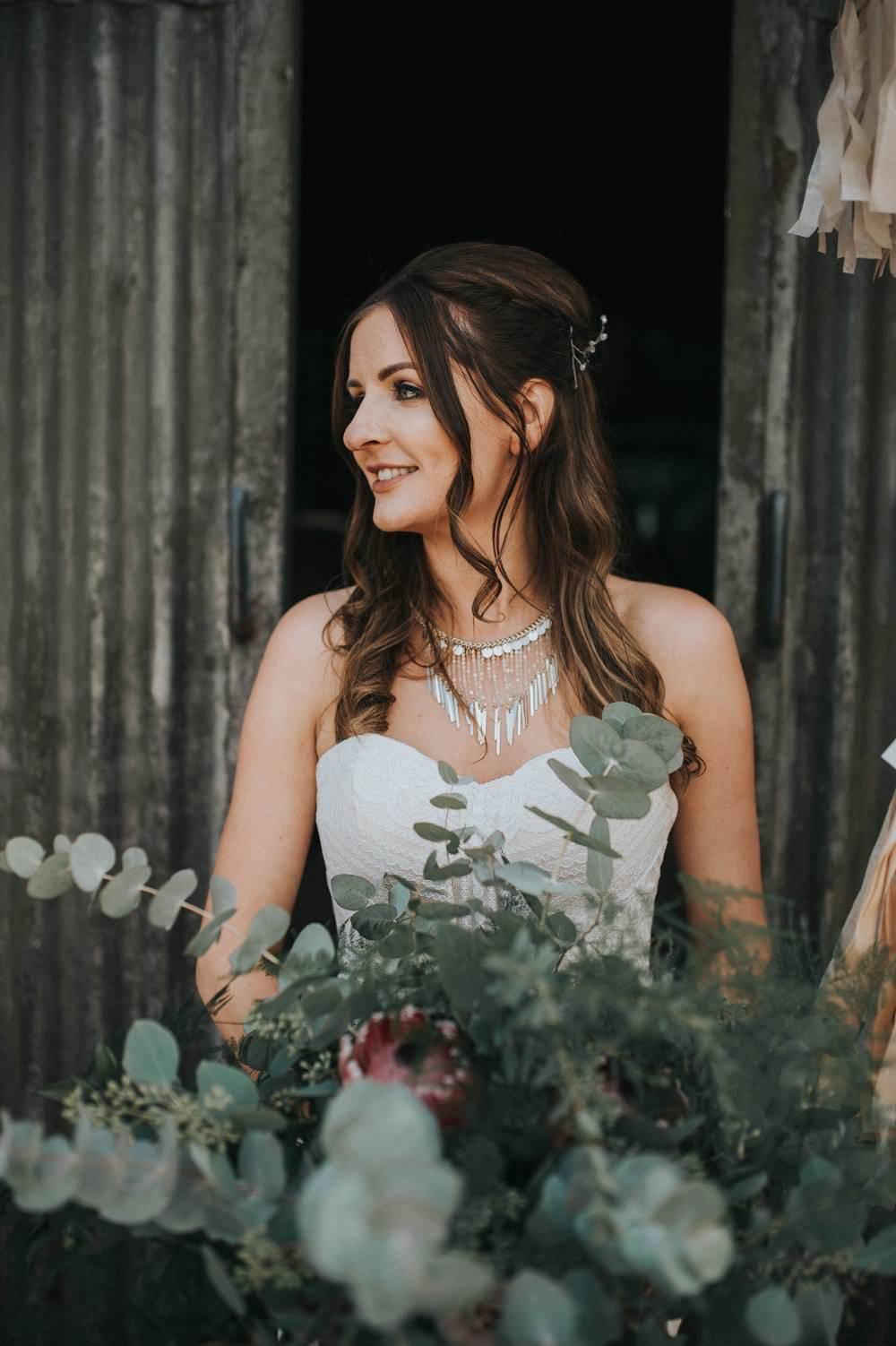 Hair Make Up Foliage Bouquet Bride Bridal Flowers Large Wild Eucalyptus Boho Greenery Barn Wedding Kerry Diamond Photography