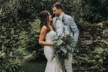 Watters Wtoo Betty Dress Gown Bride Bridal Strapless Sweetheart Fit Flare Eucalyptus Boho Greenery Barn Wedding Kerry Diamond Photography
