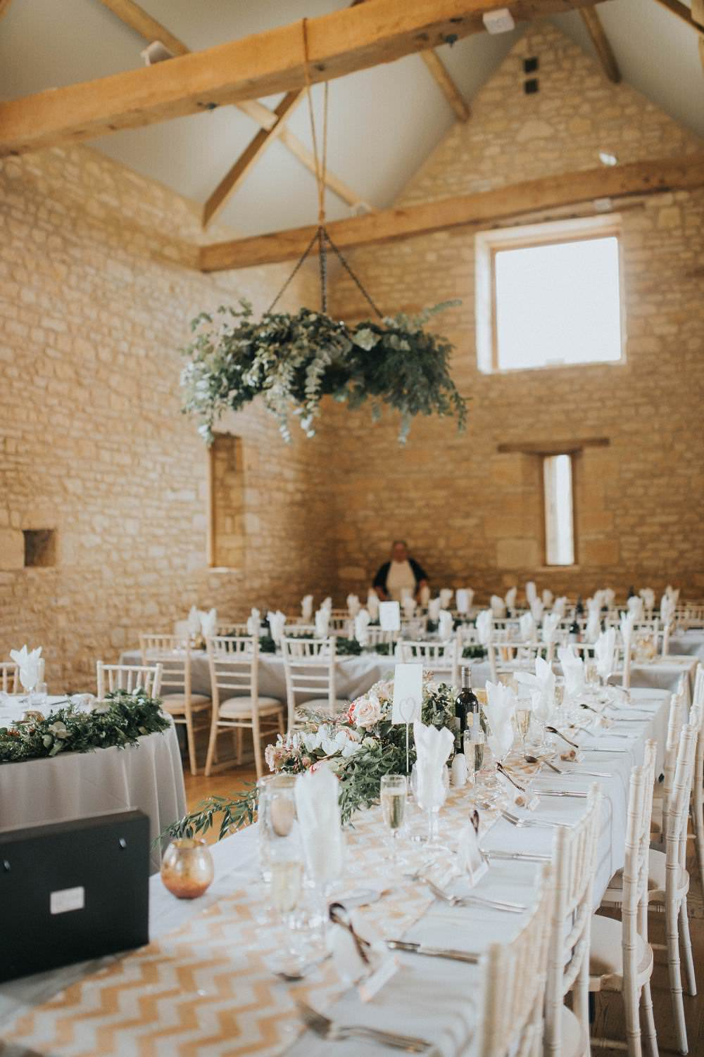 Reception Room Hanging Foliage Chandelier Hoop Wreath Suspended Chairs Eucalyptus Boho Greenery Barn Wedding Kerry Diamond Photography