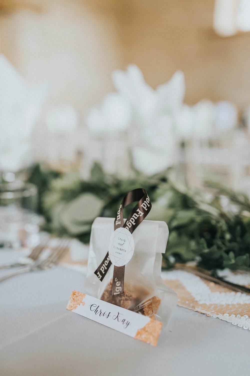 Fudge Favours Place Name Card Copper Eucalyptus Boho Greenery Barn Wedding Kerry Diamond Photography