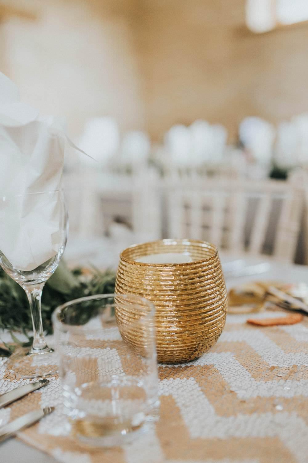 Gold Tea Light Candle Chevron Table Cloth Runner Eucalyptus Boho Greenery Barn Wedding Kerry Diamond Photography