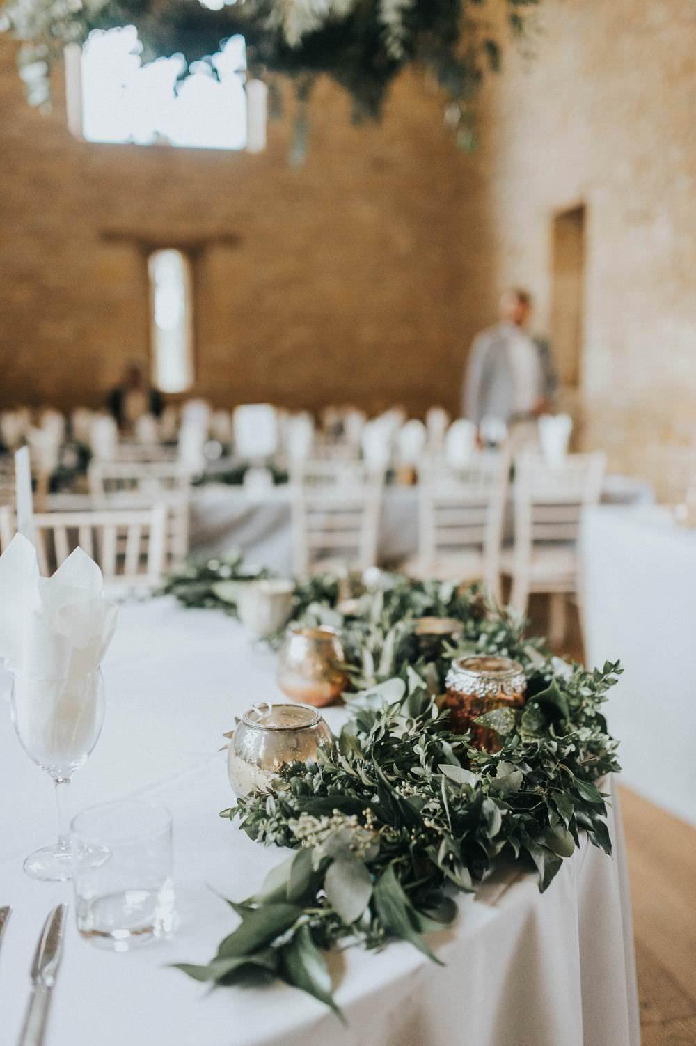Table Flowers Foliage Round Table Eucalyptus Boho Greenery Barn Wedding Kerry Diamond Photography