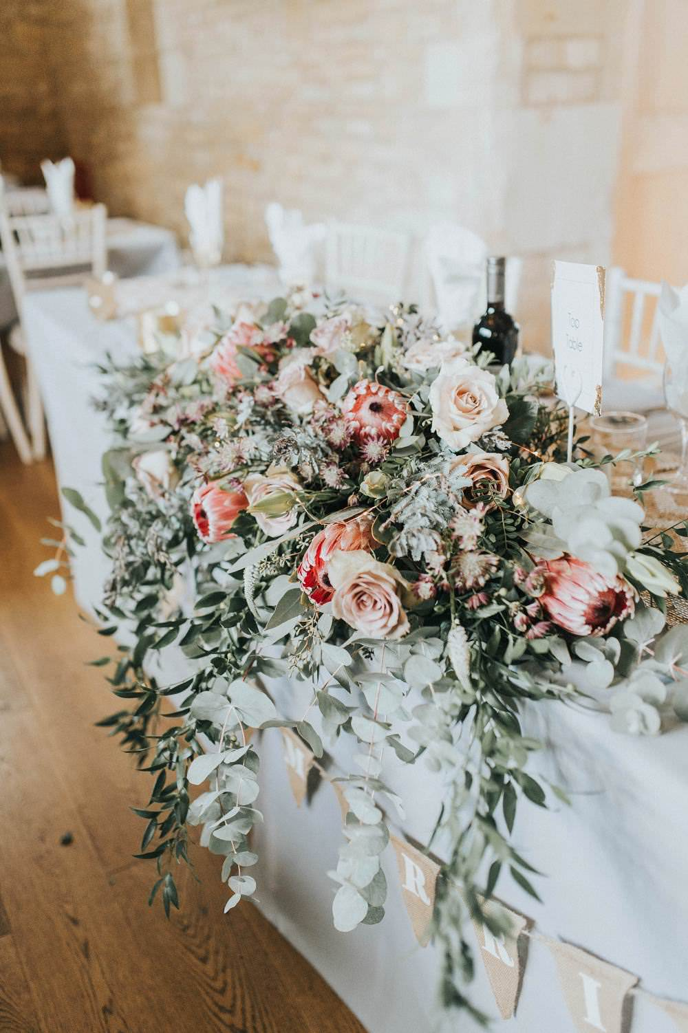 Top Table Flowers Foliage Rose Protea Pink Wild Eucalyptus Boho Greenery Barn Wedding Kerry Diamond Photography
