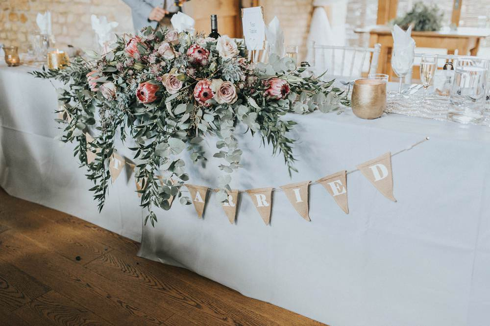 Bunting Top Table Flowers Foliage Rose Protea Pink Wild Eucalyptus Boho Greenery Barn Wedding Kerry Diamond Photography
