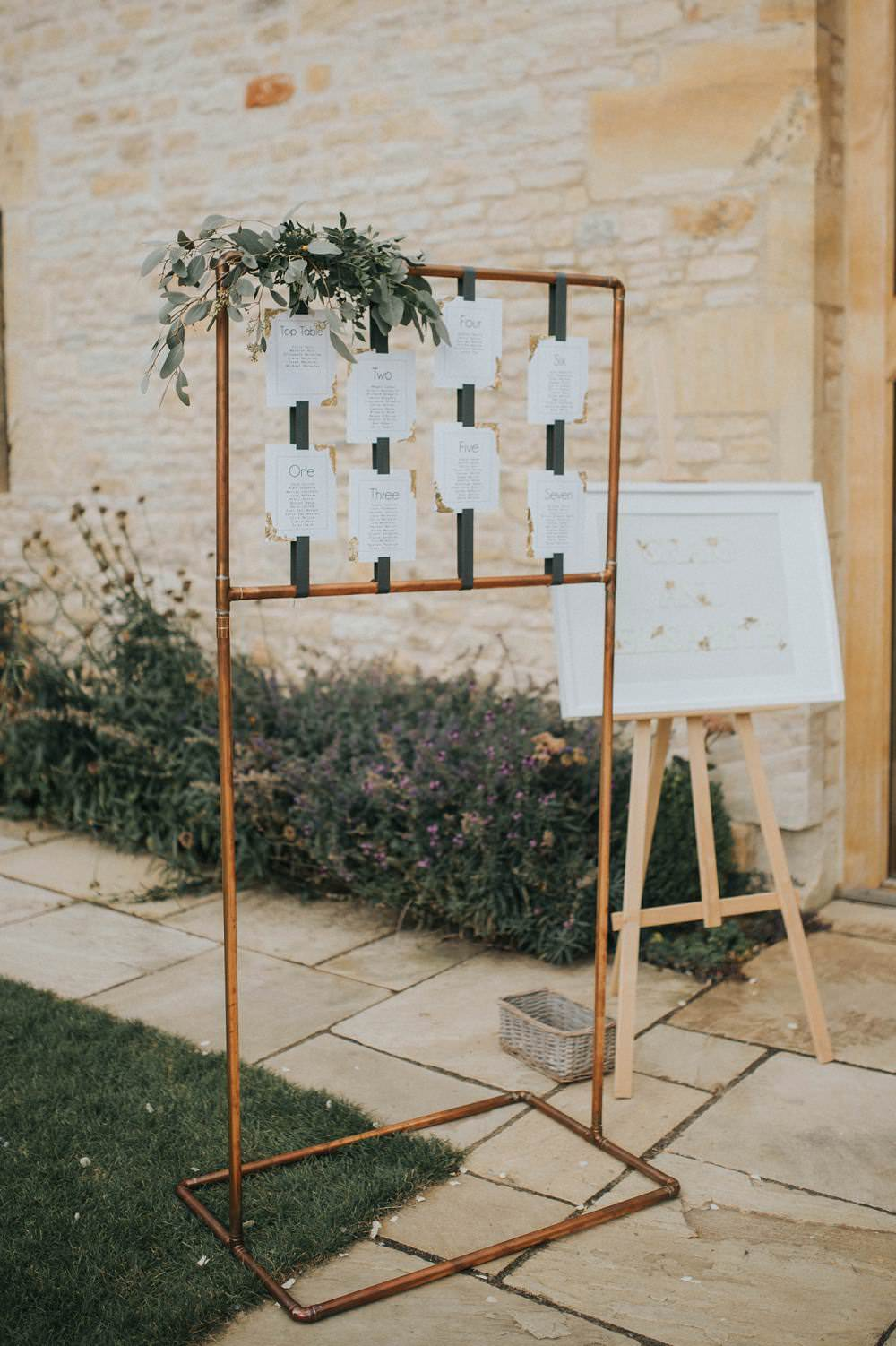 Seating Plan Table Chart Sign Copper Pipe Metal Foliage Eucalyptus Boho Greenery Barn Wedding Kerry Diamond Photography