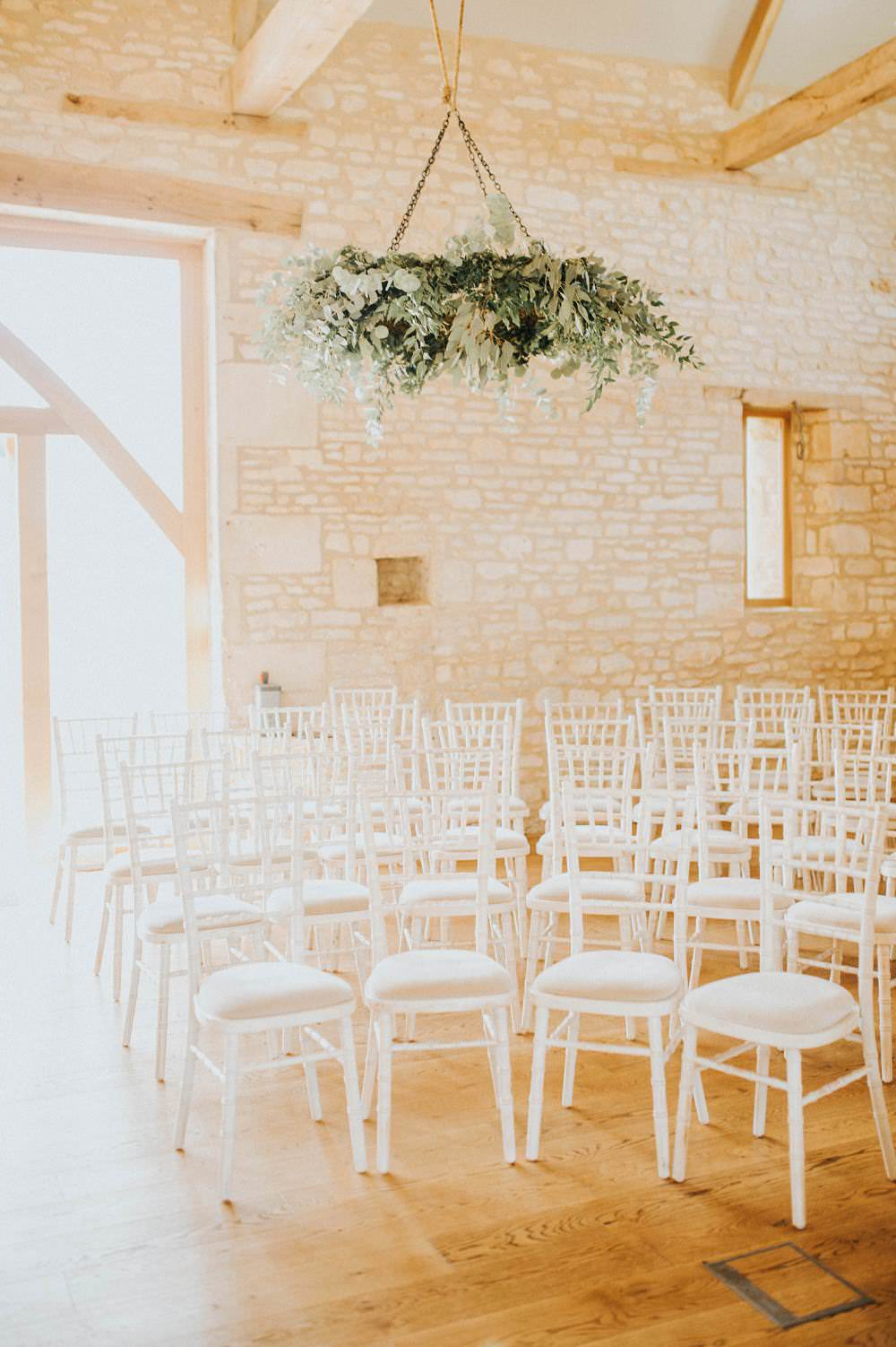 Ceremony Room Hanging Foliage Chandelier Hoop Wreath Suspended Aisle Chairs Eucalyptus Boho Greenery Barn Wedding Kerry Diamond Photography