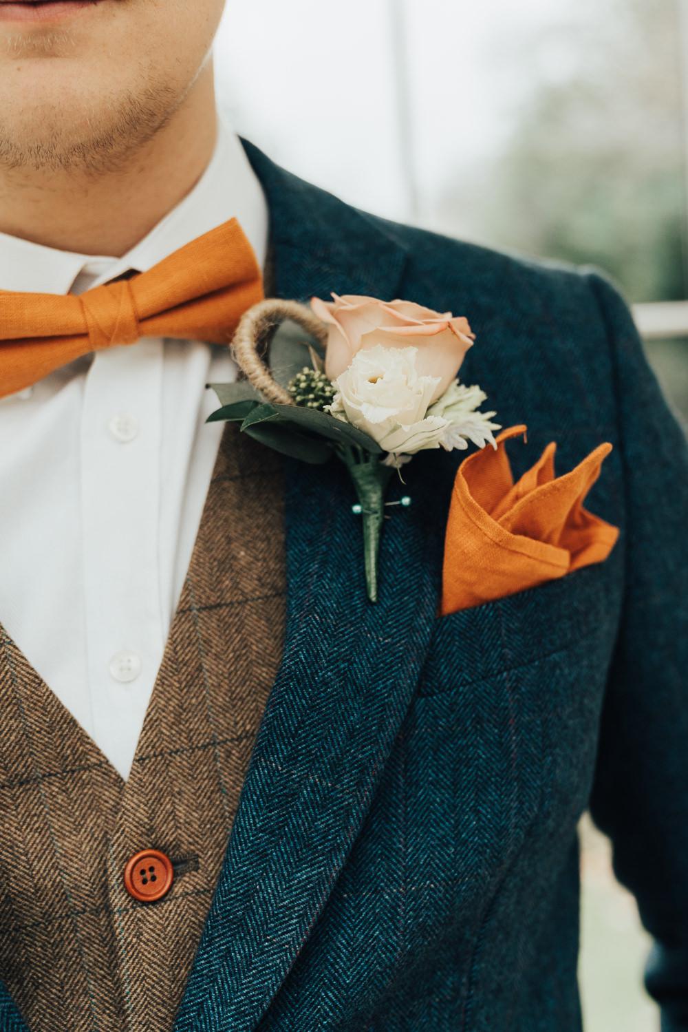 Groom Suit Navy Jacket Tweed Waistcoat Orange Bow Tie Rose Buttonhole Hoop Wedding Ideas Rebecca Carpenter Photography