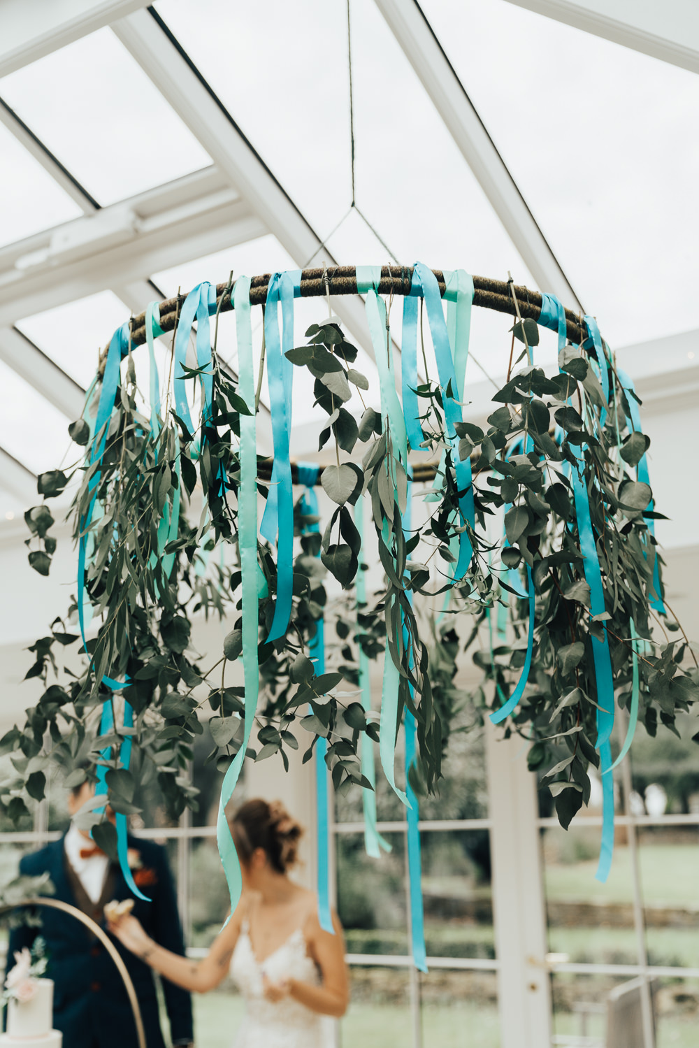 Hanging Flowers Suspended Ribbon Greenery Foliage Hoop Wedding Ideas Rebecca Carpenter Photography