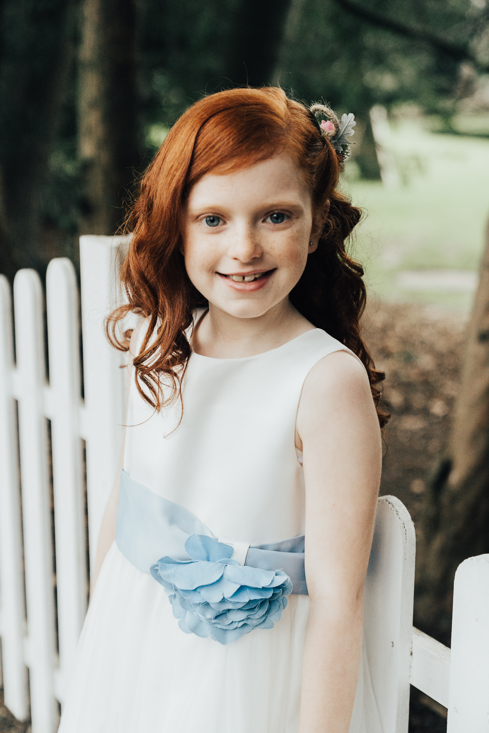 Flower Girl White Dress Blue Sash Ribbon Hoop Wedding Ideas Rebecca Carpenter Photography