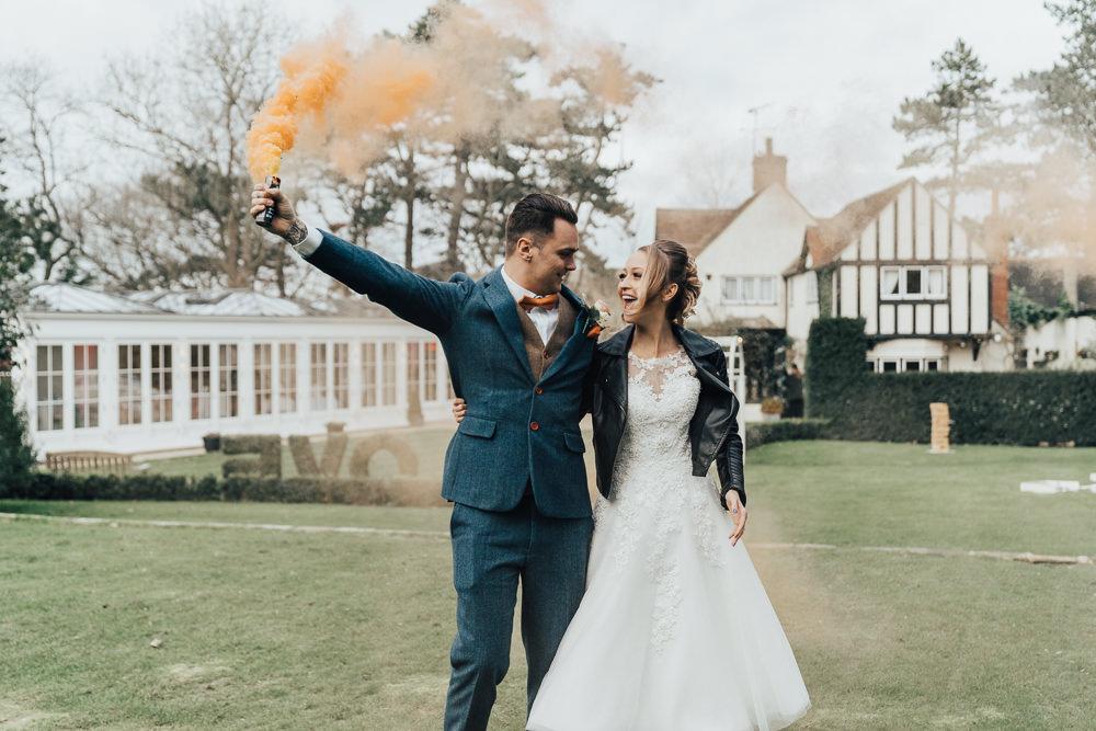 Smoke Bomb Portraits Orange Hoop Wedding Ideas Rebecca Carpenter Photography