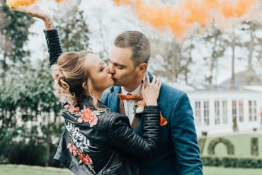 Beautiful Hoop Decor Wedding Ideas with Smoke Bombs & a Moongate
