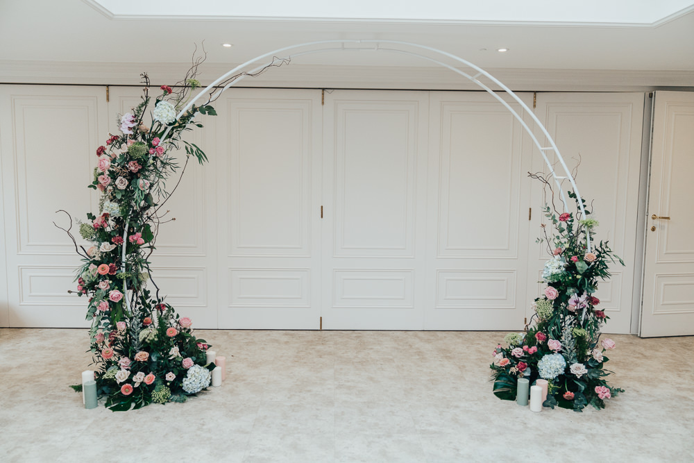 Moongate Arch Flower Backdrop Floral Ceremony Aisle Hoop Wedding Ideas Rebecca Carpenter Photography