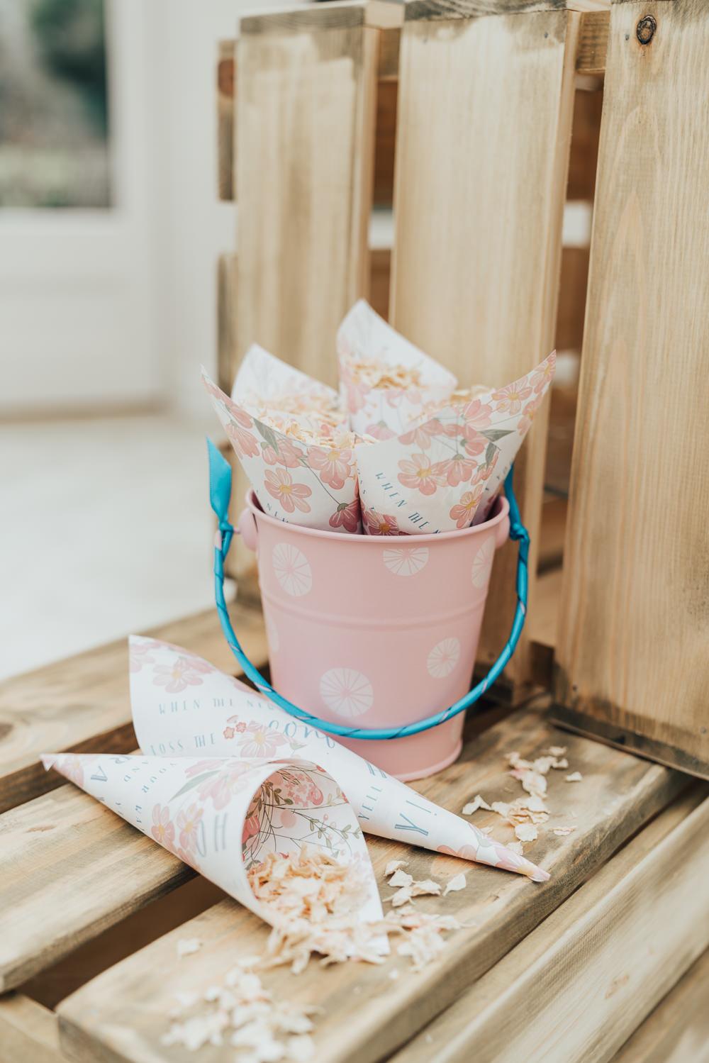 Confetti Cones Buckets Petals Hoop Wedding Ideas Rebecca Carpenter Photography