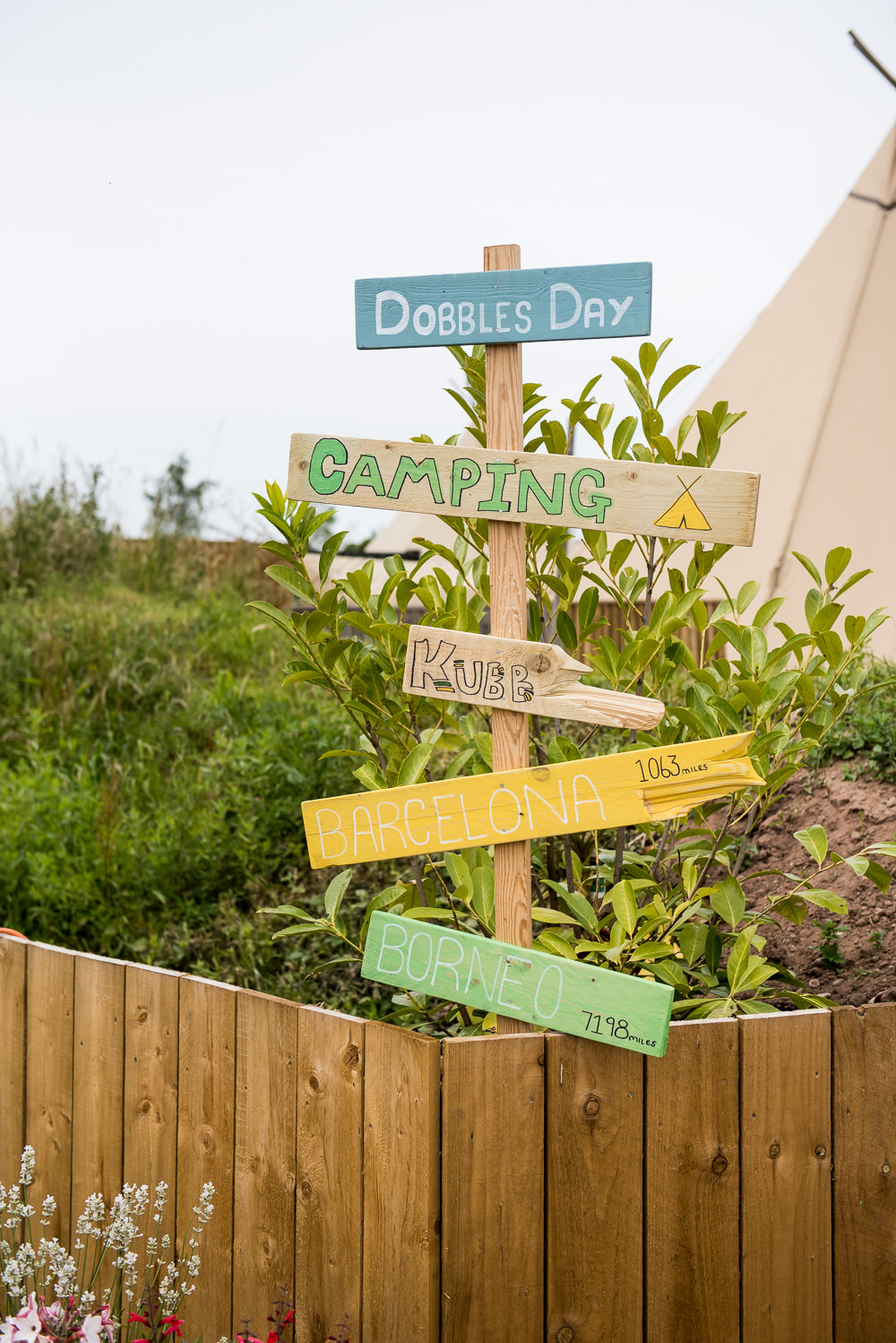 Wooden DIY Signpost Sign Direction Festival Camping Inkersall Grange Farm Wedding Jessica Grace Photography
