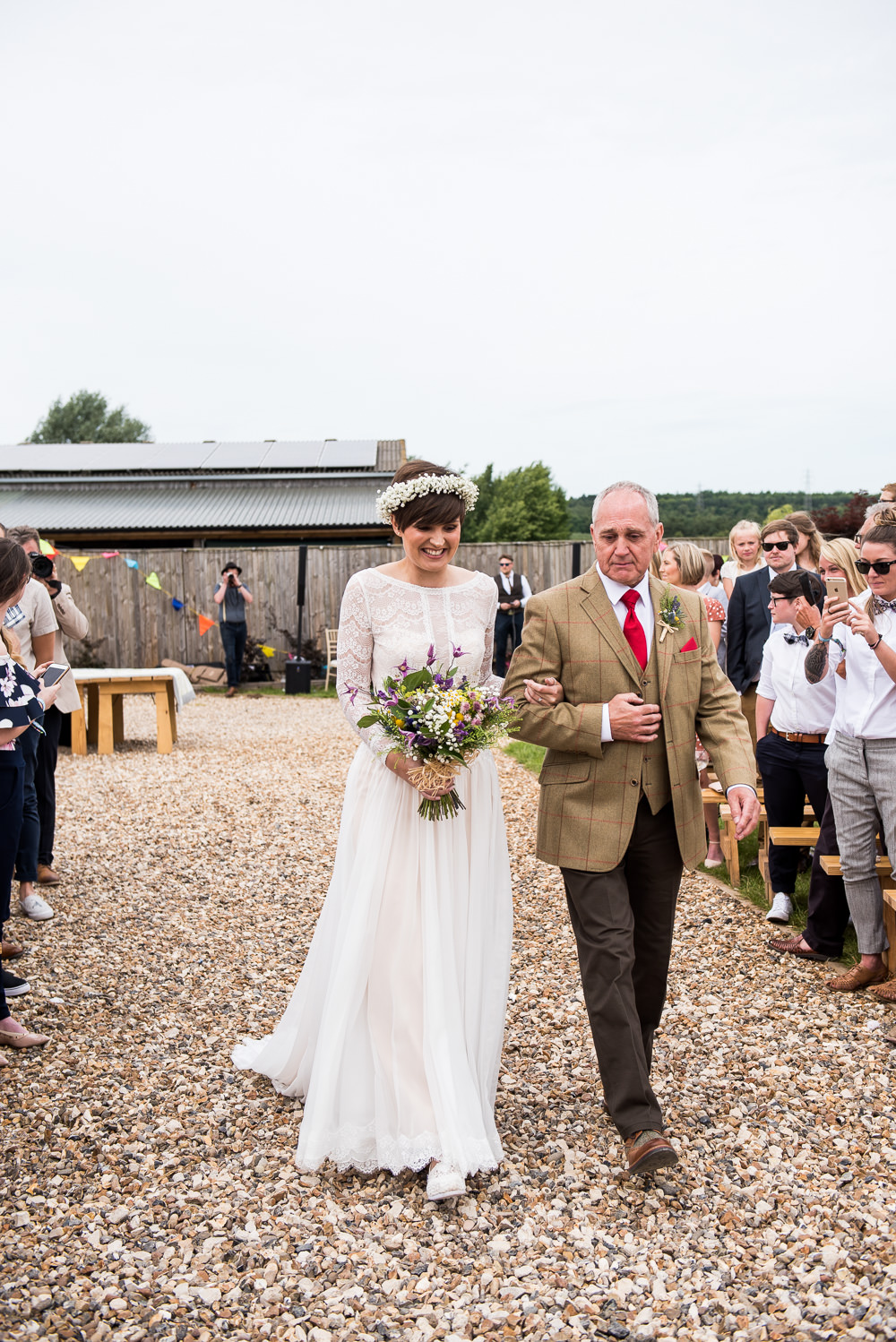 Bride Bridal Long Sleeve Lace Dress Lace Tweed Suit Gypsophila Crown Wildflower Bouquet Inkersall Grange Farm Wedding Jessica Grace Photography