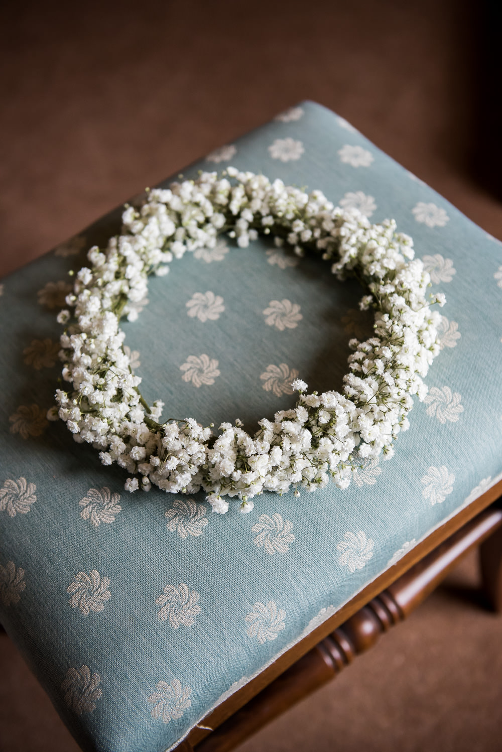 Bride Bridal Gypsophila Crown Flower Floral Inkersall Grange Farm Wedding Jessica Grace Photography