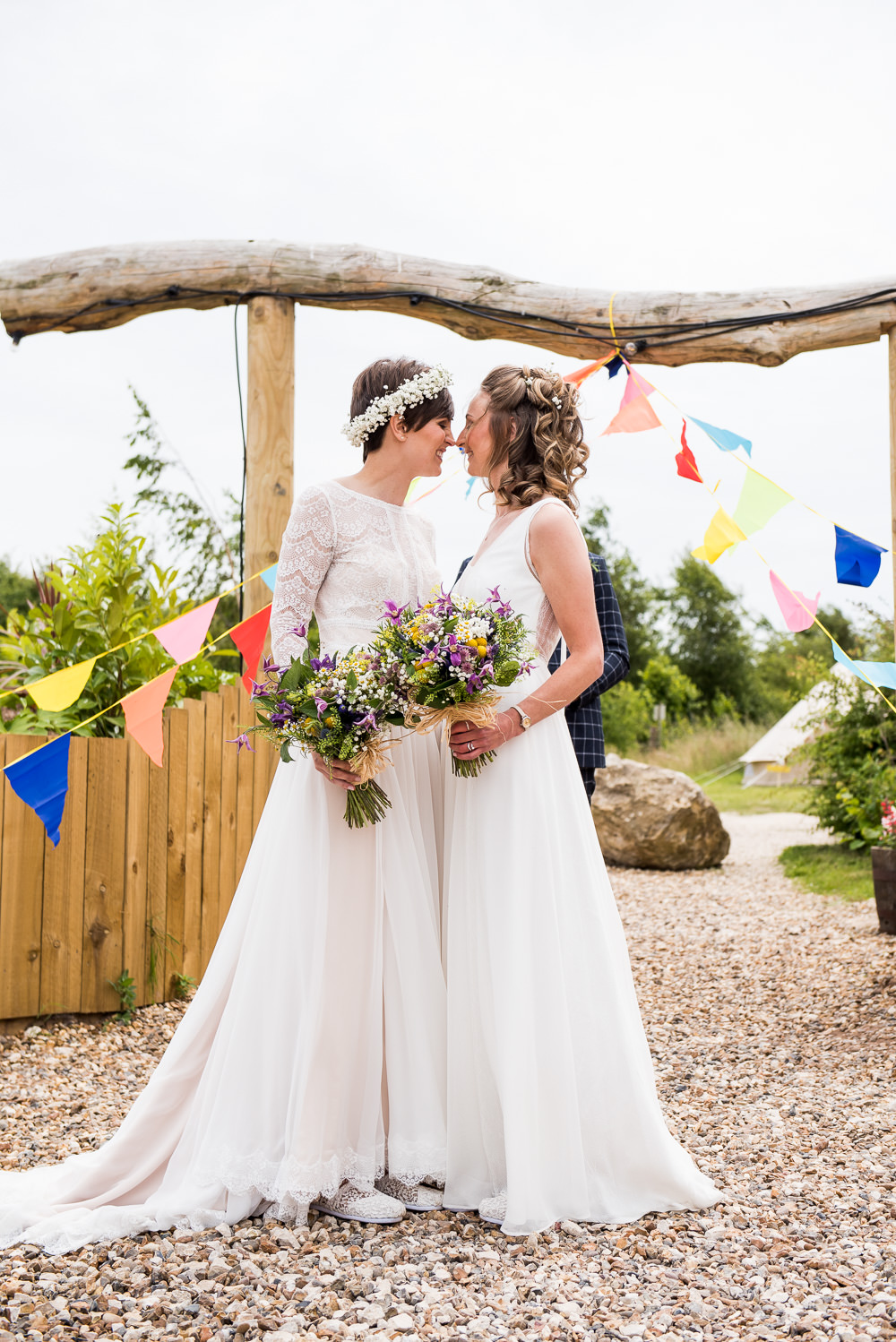 Bride Bridal Long Sleeve Lace Dress Lace Sleeveless Gypsophila Crown Wildflower Bouquet Inkersall Grange Farm Wedding Jessica Grace Photography