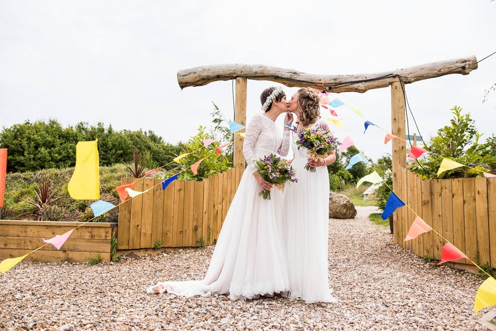 Bride Bridal Long Sleeve Lace Dress Lace Sleeveless Gypsophila Crown Wildflower Bouquet Multicolour Bunting Inkersall Grange Farm Wedding Jessica Grace Photography