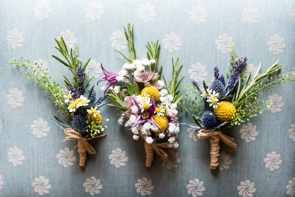 Wildflower Buttonhole Rosemary Thistle Inkersall Grange Farm Wedding Jessica Grace Photography