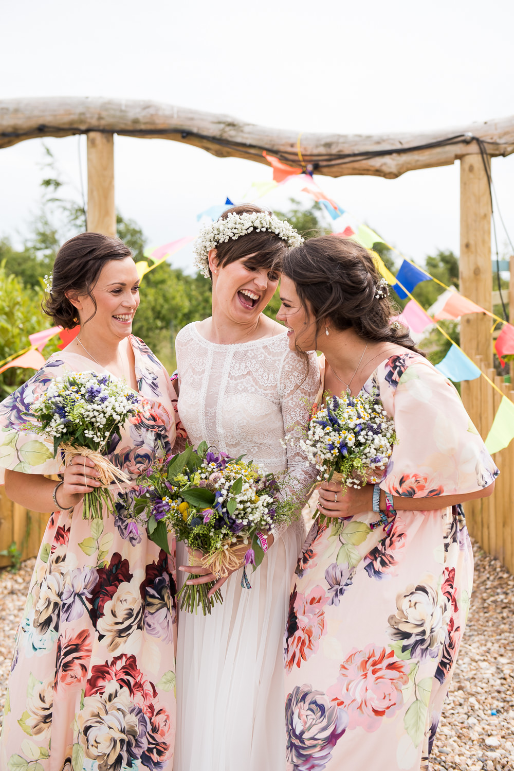 Bride Bridal Long Sleeve Lace Dress Lace Floral ASOS Bridesmaids Gypsophila Crown Wildflower Bouquet Inkersall Grange Farm Wedding Jessica Grace Photography