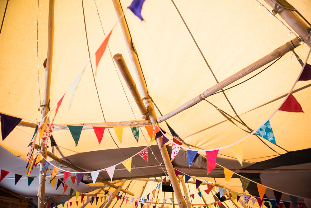 Tipi Bunting Multicolour Inkersall Grange Farm Wedding Jessica Grace Photography