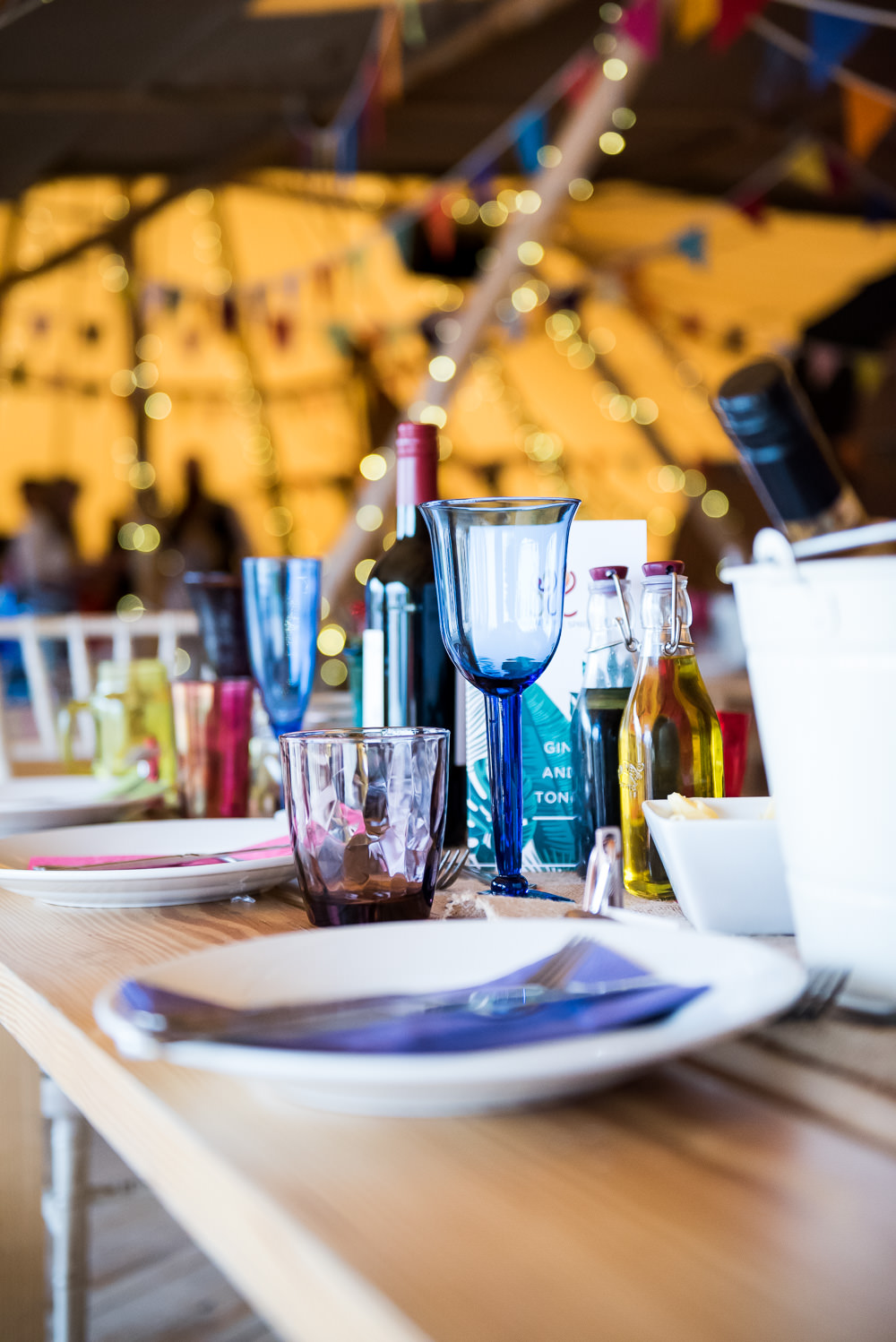 Colourful Multicoloured Glasses Tipi Inkersall Grange Farm Wedding Jessica Grace Photography