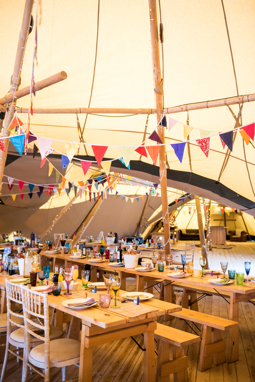 Table Setting Colourful Multicolour Bunting Glasses Tipi Inkersall Grange Farm Wedding Jessica Grace Photography