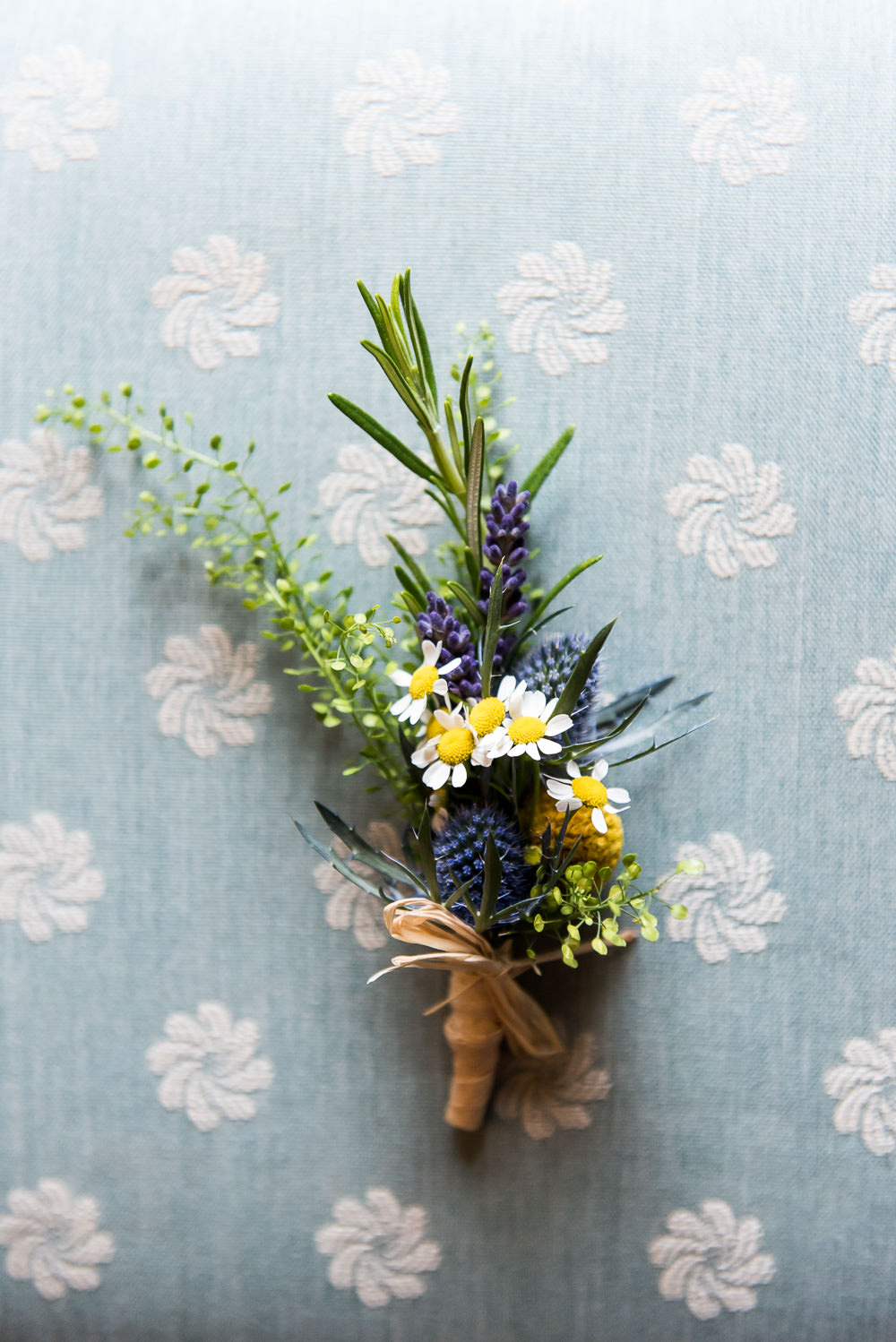 Wildflower Thistle Rosemary Daisy Buttonhole Inkersall Grange Farm Wedding Jessica Grace Photography