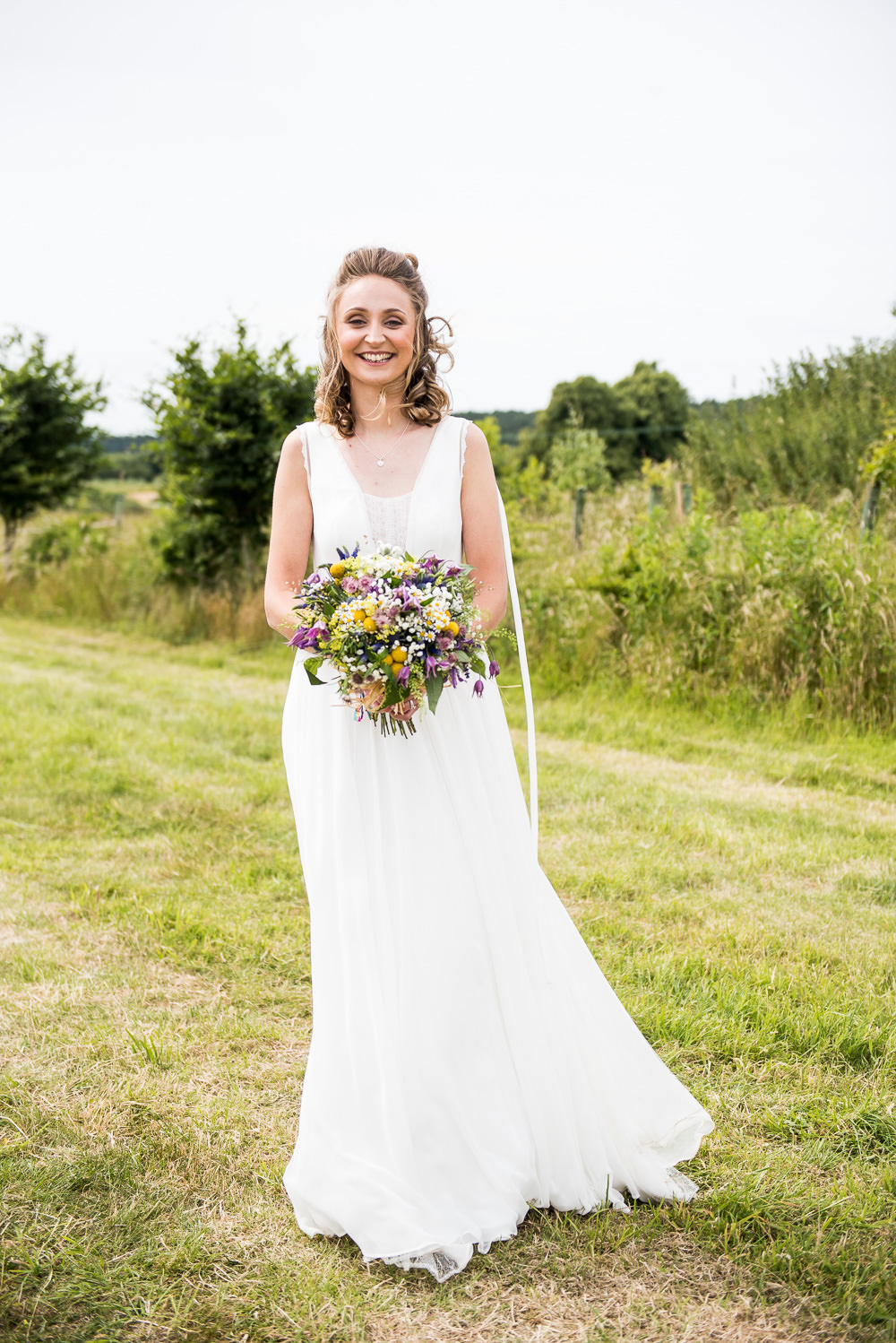 Bride Bridal Lace Dress Lace Sleeveless Gypsophila Crown Wildflower Bouquet Inkersall Grange Farm Wedding Jessica Grace Photography