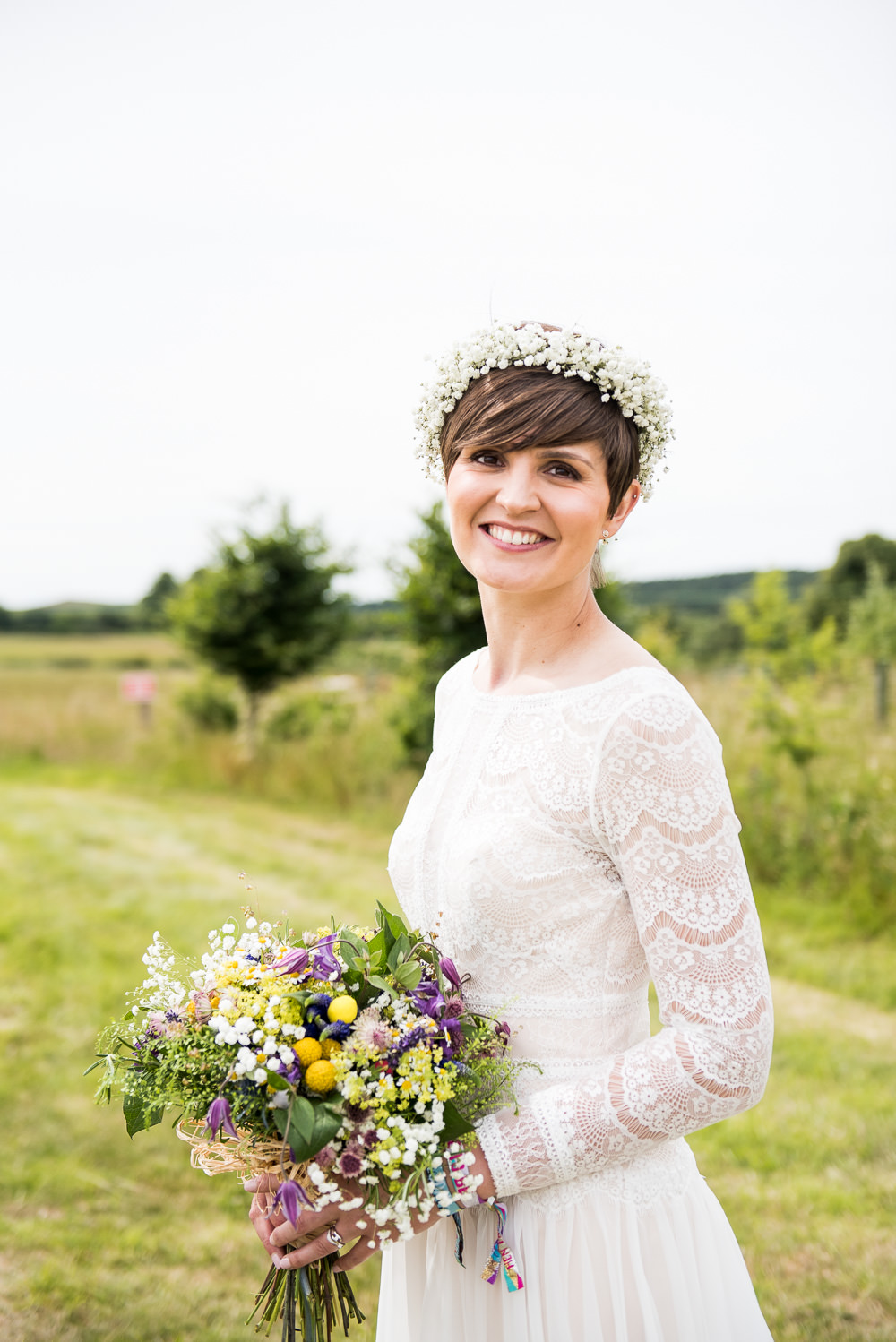 Bride Bridal Long Sleeve Lace Dress Lace Gypsophila Crown Wildflower Bouquet Inkersall Grange Farm Wedding Jessica Grace Photography