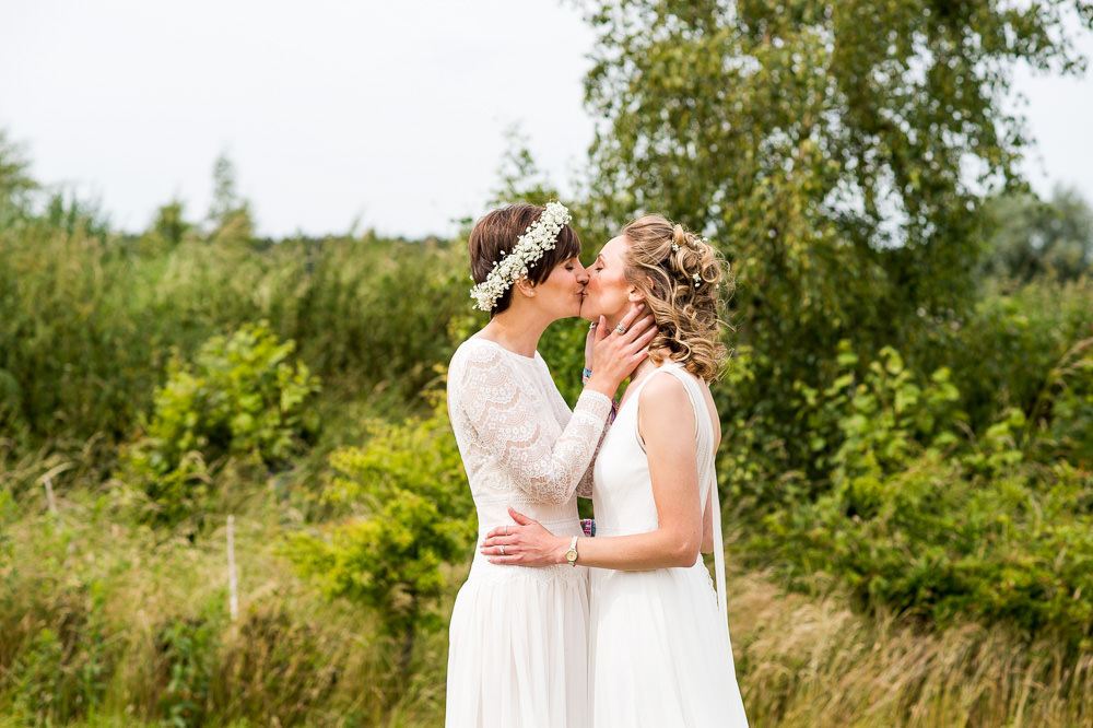 Bride Bridal Long Sleeve Lace Dress Lace Sleeveless Gypsophila Crown Inkersall Grange Farm Wedding Jessica Grace Photography