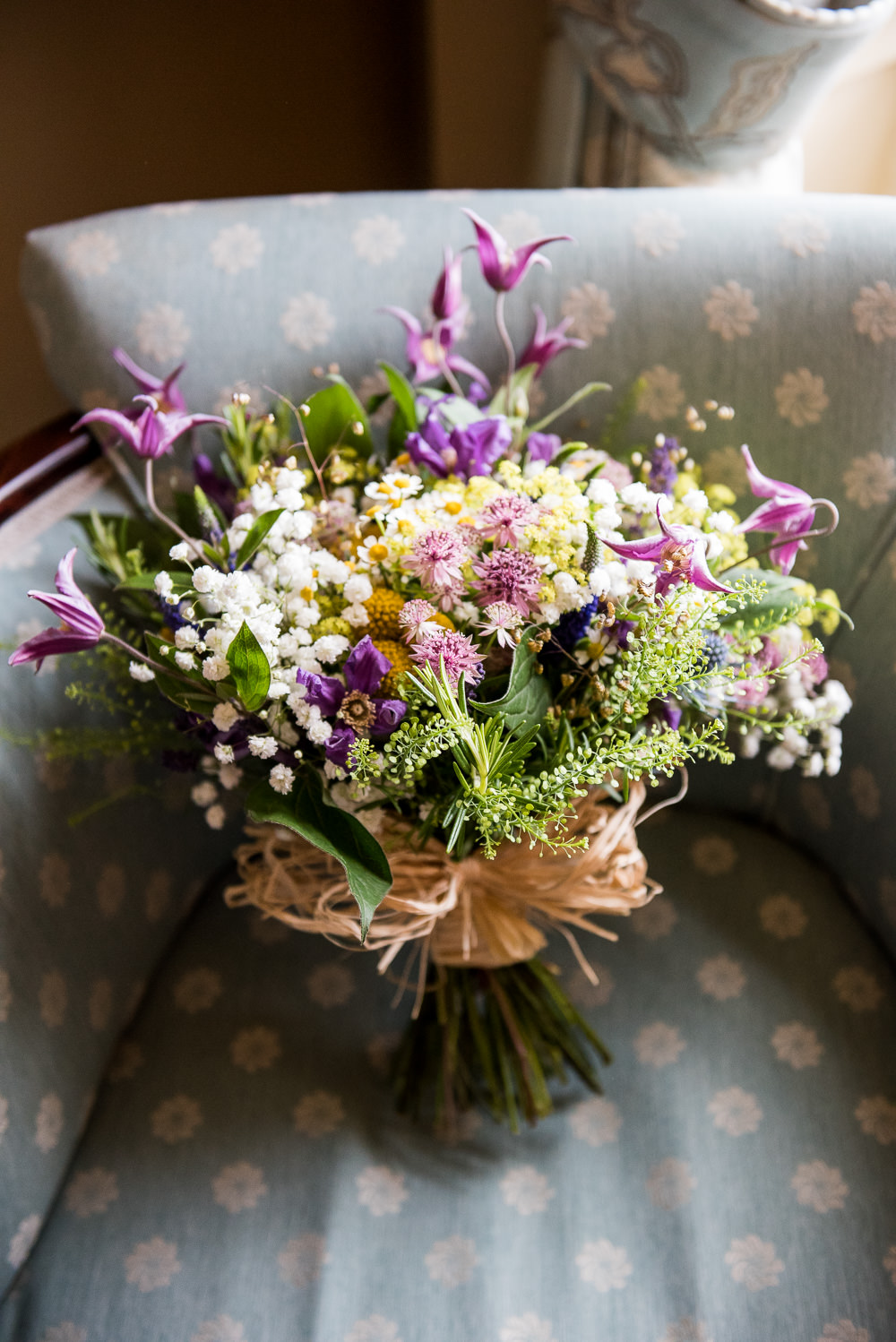 Bride Bridal Wildflower Bouquet Daisy Inkersall Grange Farm Wedding Jessica Grace Photography