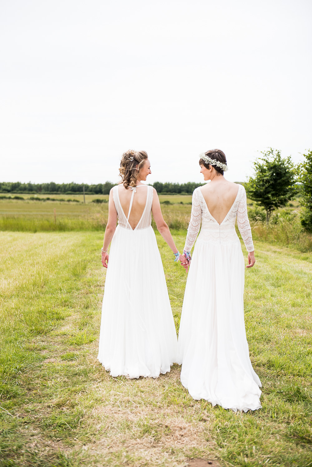Bride Bridal Long Sleeve Lace Dress Lace Sleeveless Gypsophila Crown V Back Inkersall Grange Farm Wedding Jessica Grace Photography