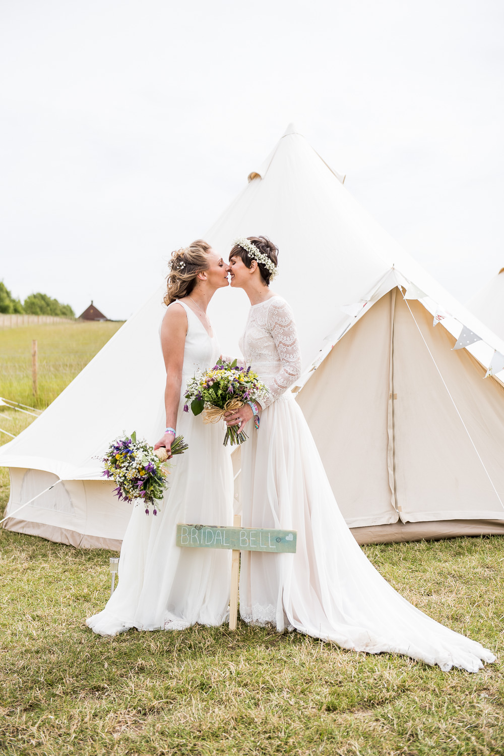 Bride Bridal Long Sleeve Lace Dress Lace Sleeveless Gypsophila Crown Wildflower Bouquet Bell Tent Inkersall Grange Farm Wedding Jessica Grace Photography