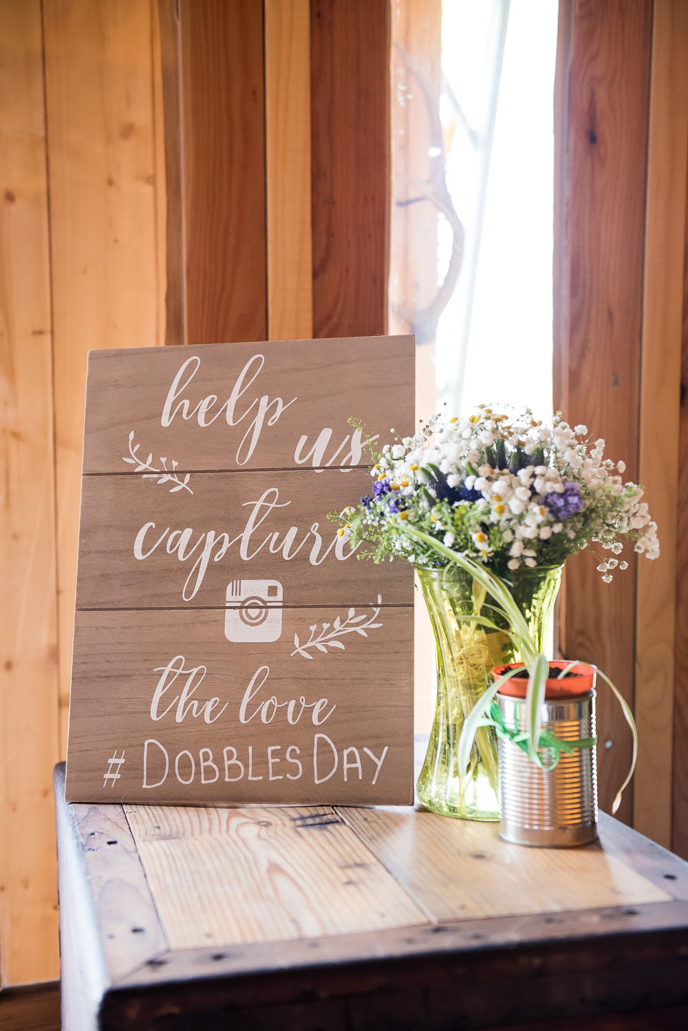 Instagram Hashtag Sign Inkersall Grange Farm Wedding Jessica Grace Photography