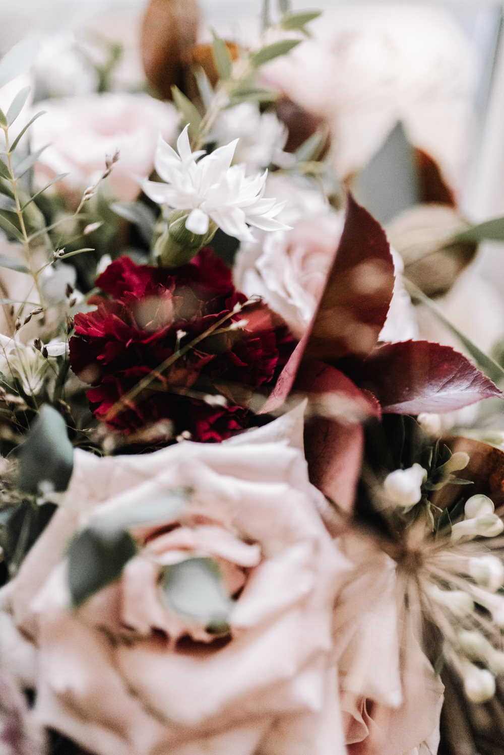 Bouquet Flowers Red Pink Burgundy Bride Bridal Rose Kingscote Barn Wedding Oobaloos Photography