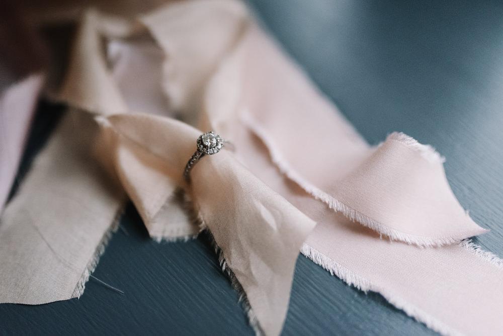 Diamond Enagement Ring Halo Kingscote Barn Wedding Oobaloos Photography