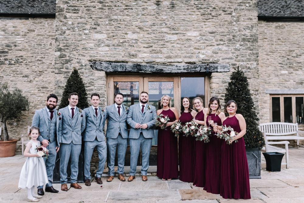 Groom Suit Groomsmen Grey Burgundy Red Ties Tweed Bridesmaids Dresses Kingscote Barn Wedding Oobaloos Photography