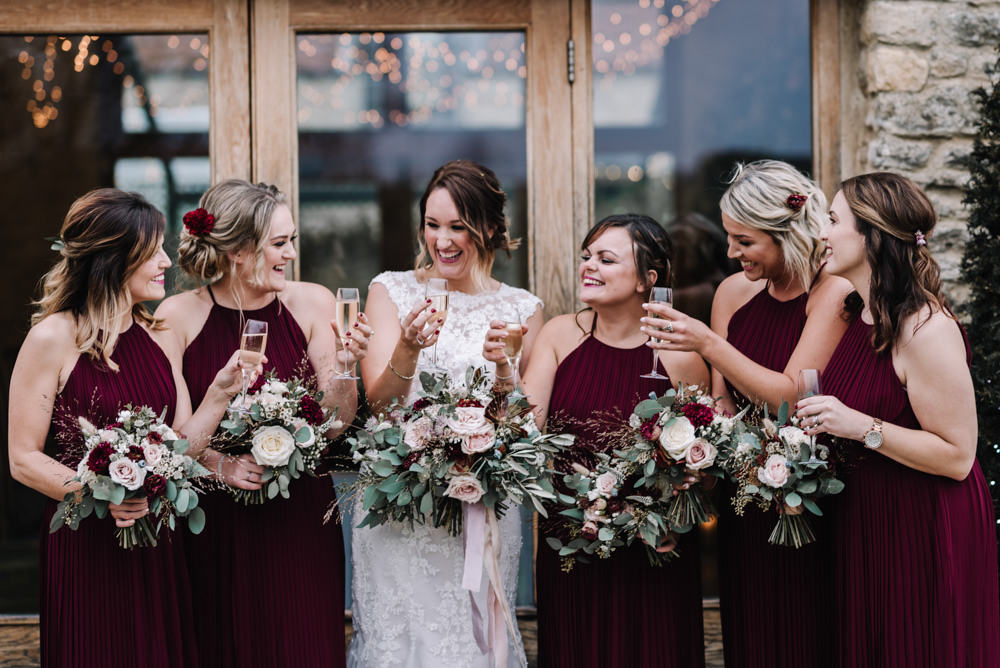 Halterneck Bridesmaids Dress Dresses Red Burgundy Long Maxi Kingscote Barn Wedding Oobaloos Photography