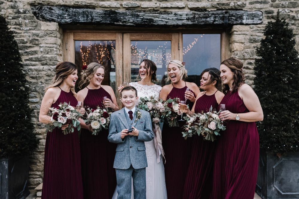 Halterneck Bridesmaids Dress Dresses Red Burgundy Long Maxi Page Boy Kingscote Barn Wedding Oobaloos Photography