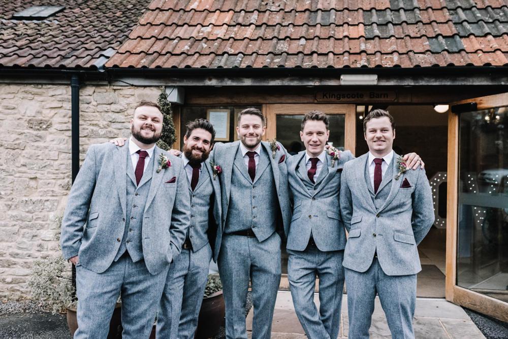 Groom Suit Groomsmen Grey Burgundy Red Ties Tweed Kingscote Barn Wedding Oobaloos Photography