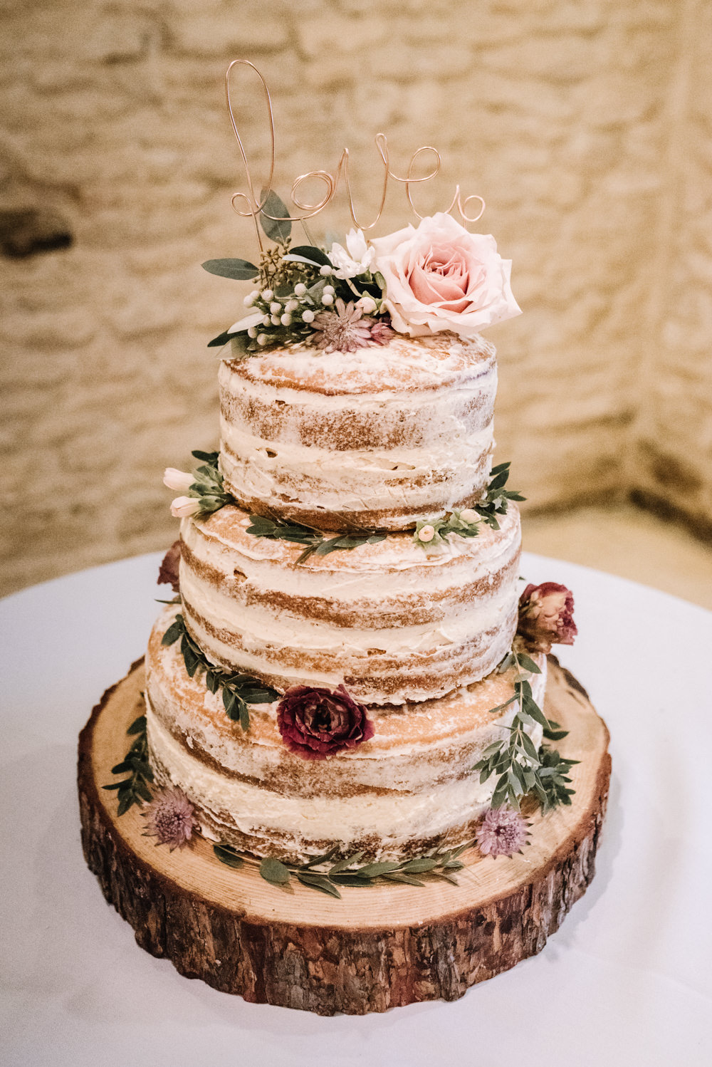 Naked Cake Layer Sponge Semi Flowers Log Stand Wire Love Topper Kingscote Barn Wedding Oobaloos Photography