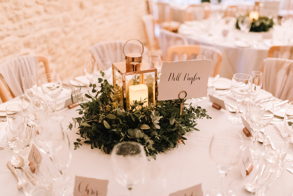 Table Decor Centrepiece Lantern Candle Greenery Foliage Kingscote Barn Wedding Oobaloos Photography