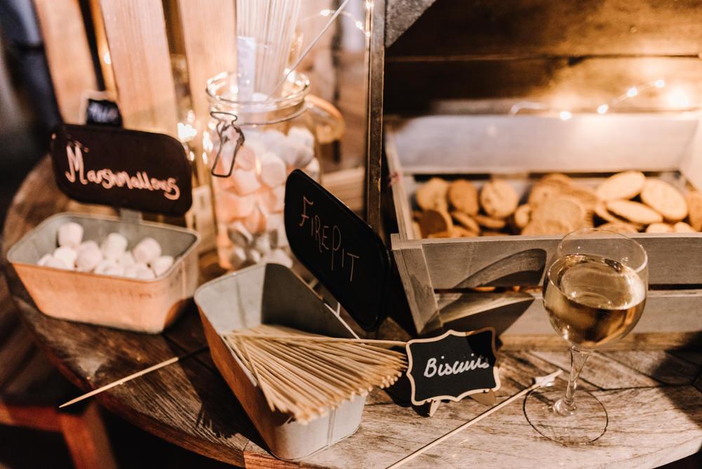 Smores Marshmallow Toasting Bar Station Table Kingscote Barn Wedding Oobaloos Photography