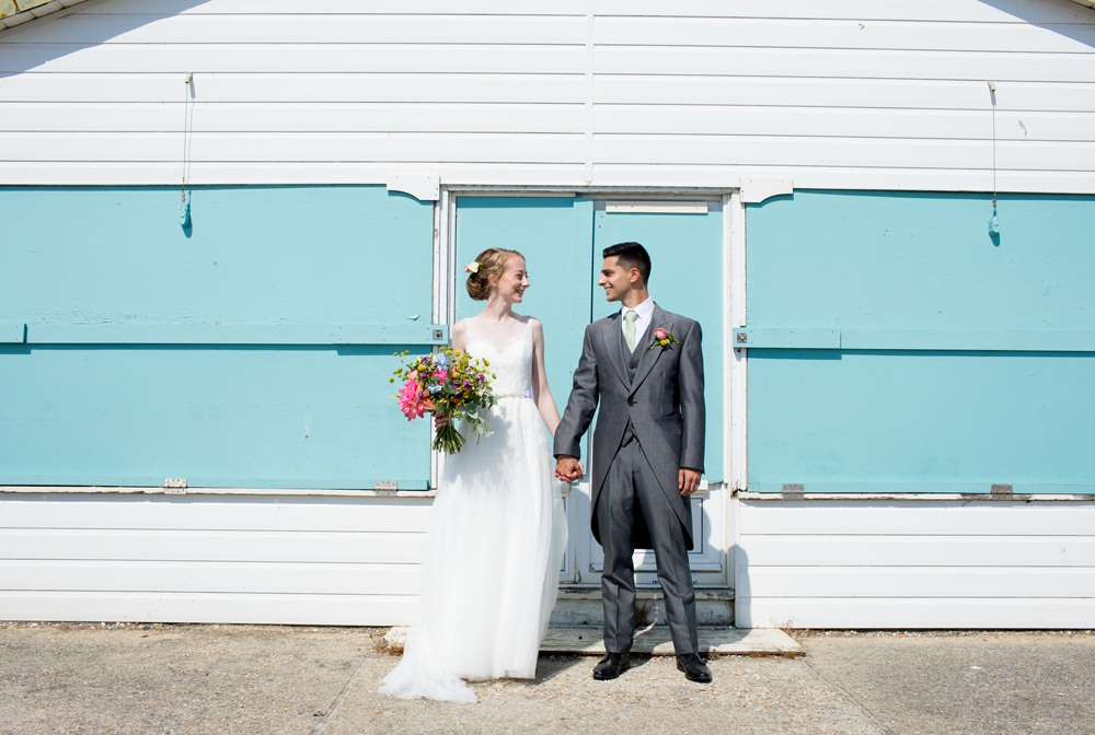 Bride Bridal Sweetheart Neckline Dress Gown Overlay Sleeveless Grey Tails Groom Mint Tie Multicoloured Bouquet Meadow Blousy Meon Bye Farm Wedding Jessica Hayman Photography