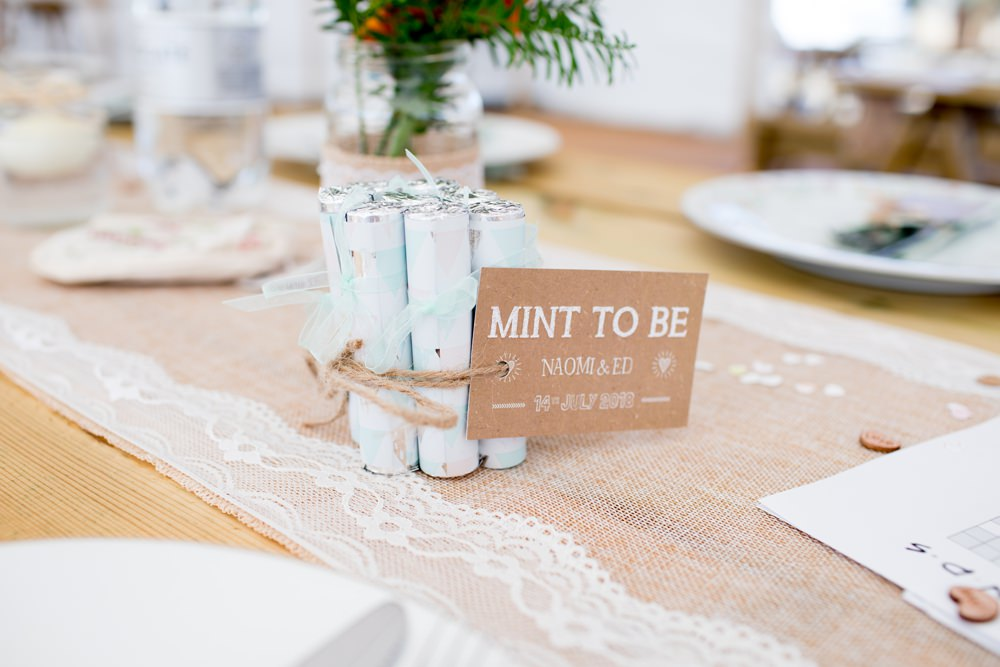 Mint To Be Favours Hessian Burlap Lace Runner Meon Bye Farm Wedding Jessica Hayman Photography
