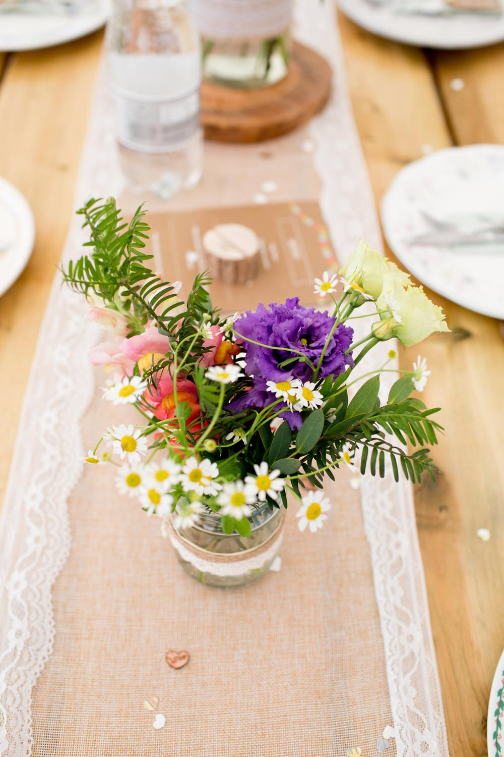 Wildflower Florals Burlap Hessian Lace Runner Jam Jar Table Meon Bye Farm Wedding Jessica Hayman Photography
